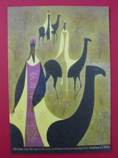 WISEMEN ON CAMELS ~ EYVIND EARLE ~ RARE CHRISTMAS GREETING CARD | eBay