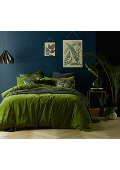 Mossy Road Cotton Velvet Quilt Cover Set by Vintage Design. Get it now or find more Quilt Cover Sets at Temple & Webster. Bedroom Green, Home Bedroom, Bedroom Ideas, Master Bedroom, Interiores Art Deco, Green Comforter, Comforter Cover, King Comforter, Green Duvet Covers