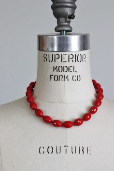 Vintage 1950s Red Bead Choker Necklace