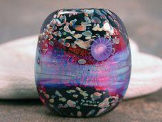 Lampwork Glass Focal Bead Fire Opal Magenta Orange Lavender on Black Divine Spark Designs SRA LETeam