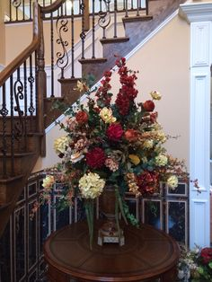 Handsome Fall Entry Table Decorating Ideas You Must Have - Page 8 of 65 Large Flower Arrangements, Artificial Floral Arrangements, Church Flowers, Fall Flowers, Foyer Decorating, Decorating Ideas, Floral Centerpieces, Floral Design, Table Decorations