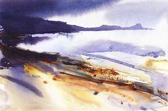 Looking towards Worm Head, The Gower, heavy rain. by Adrian Homersham