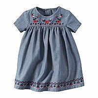 Carter's® 2-pc. Short-Sleeve Embroidered Chambray Dress - Baby Girls newborn-24m - Carter's® 2-pc. Short-Sleeve Embroidered Chambray Dress - Baby Girls newborn-24m