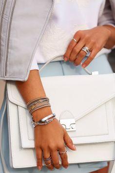 Ballisty Ballisty Loeffler Randall Rider bag in white Handbag Accessories, Fashion Accessories, Fashion Jewelry, Viva Luxury, Wanderlust And Co, Pastel Outfit, Bling, Silver Bangles, White Fashion
