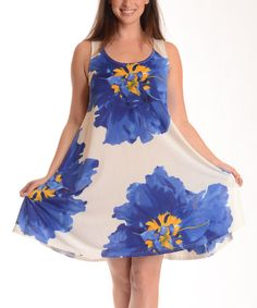 Another great find on #zulily! Blue & White Floral Sleeveless Dress - Plus by Shoreline #zulilyfinds