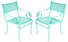 One Kings Lane - Mad for Mediterranean - Turquoise Metal Garden Chairs, Pair