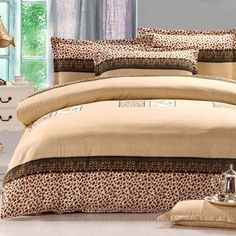 Sexy Leopard Cotton Comforter Cover Queen Size Flat Sheet Bedding Set