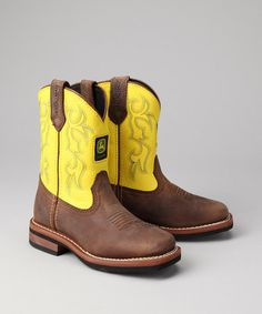 Little Kid Brown Square-Toe Wellington Cowboy Boots from John Deere Kids