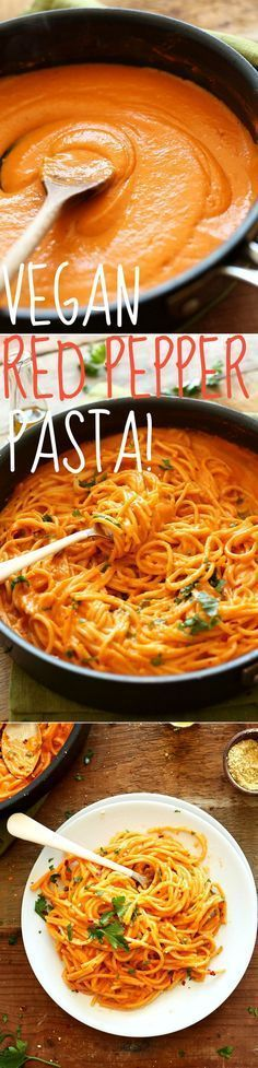 10-INGREDIENT Vegan Gluten Free Pasta! A creamy roasted red pepper sauce in perfectly al dente gluten free noodles. Recipe via minimalistbaker.com.
