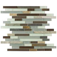 Kitchen backsplash Tessera Piano Tundra 11-3/4 in. x 12 in. x 8 mm Glass and Stone Mosaic Wall Tile