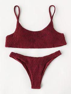Shirred Design High Leg Bikini Set