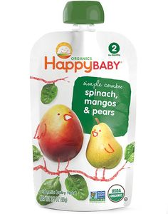 Happybaby Stage 2 Spinach, Mangos & Pears Squeeze Pouch 4 oz