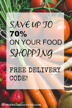 Want to save upto 70% on your food/grocery shopping?! This blog shows a great trick on how to do this (no coupon clipping!) Free delivery codes available for a limited time, click on the link to find out more! http://www.frompenniestopounds.com/save-70-food-shopping-free-delivery-code/