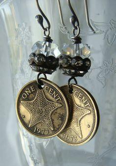 Vintage Bahama Coin Earrings 1973 Starfish Dangle by CobwebPalace