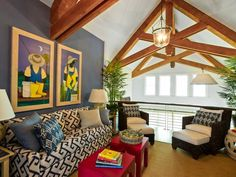 HGTV Dream Home 2013: Loft Pictures    The casual family gathering space enjoys both marsh and great room views and takes advantage of the home's soaring vaulted ceiling ~ The selection of intense shades of blue — both in fabric and wall color — is, in part, interior designer Linda Woodrum' s nod to island decor and interiors.