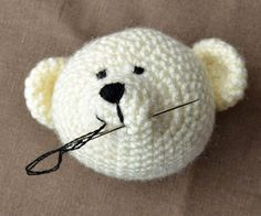 Hand Embroidery: Give Your Amigurumi Life & Personality – The Crochet Cafe Knitted Teddy Bear, Crochet Teddy, Crochet Bear, Crocheted Animals, Crochet World, Embroidery Kits, Ribbon Embroidery, Amigurumi Patterns, Crochet Patterns