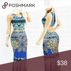 """Azul Mermaid Maxi Dress ✔️Brand New ✔️Made in Brazil ✔⭕️Open back ✔️Material very stretchy ⭕️ ️Measurements: Length: 58"""" Bust: 28-36"""" Hips: 30-42"""" Dresses Maxi"""