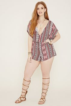 1bb46cb4bf6 A woven short-sleeved romper featuring an allover striped floral print with  a V-