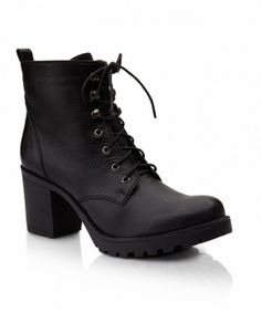LACE UP CHUNKY TREAD BOOT - Boots - Shoes