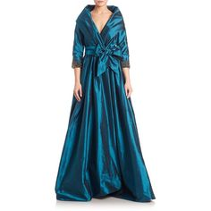Catherine Regehr Metallic Tie-Waist Gown (£3,420) ❤ liked on Polyvore featuring dresses, gowns, apparel & accessories, 3/4 sleeve dress, sparkly dress, silk evening gowns, blue gown and blue fit-and-flare dresses