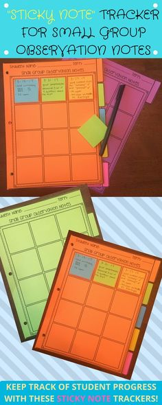 "Sticky note small group observation trackers! Use 2""x2"" or 3""x3"" stickies!"