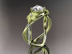 14kt white gold diamond leaf and vine wedding by anjaysdesigns, $1625.00