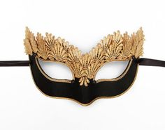 Pure Gold Lace Masquerade Mask With Brocade Fabric by SOFFITTA