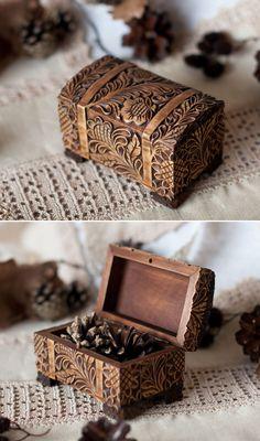 "Carved Wooden Box | Резная деревянная шкатулка ""Горький шоколад"" — работа дня на Ярмарке Мастеров"