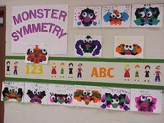 Monster Symmetry - fun way to reinforce Geometry CCS in grade Looks fun for kindergarten too! Art Lessons Elementary, Elementary Math, Math Lessons, Symmetry Activities, Art Activities, Kindergarten Art, Preschool Art, Math Classroom, Classroom Ideas