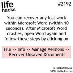 Lost work recovery on Microsoft Word