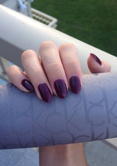 Deep purple natural looking almond/oval nails. Love the color. I know it's fall when I gravitate toward deep purples.