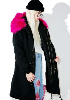 Wanderer Faux Fur Parka is tha only thing that can keep up with yer adventurous spirit, babe. This classik elongated parka features a sturdy black construction, drawstring waist, plenty of pockets, ultra fluffy 'N warm hott pink faux fur hood, vented back, and button snap 'N zip closure.