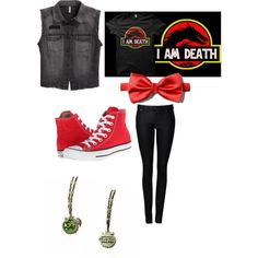 I am death by laurenbarnett12100 on Polyvore featuring polyvore, fashion, style, H&M, Witchery and Converse