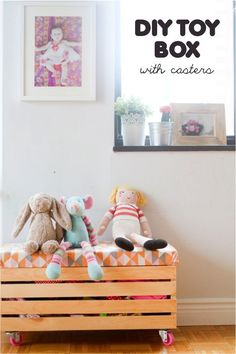 {DIY toy box with casters} so smart & adorable. Link has sources for all supplies including those pink caster wheels