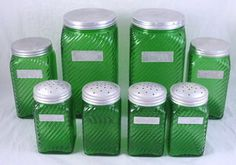 DEPRESSION GLASS DARK GREEN RIBBED HOOSIER PANTRY JARS CANISTER SET