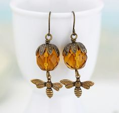 Bee Earrings  Golden Brown Amber Glass Beaded by JacarandaDesigns, $23.00
