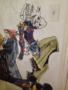 Kingdom Hearts Mural. I'm not sure if the red and blue parts of his armour are made of metal or something else. It didn't really look shiny in the picture though so I guess it must be leather or something.