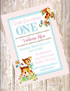 Woodland Deer Theme Birthday Invitations, Rosegold Birthday Deer Invitations Vintage Birthday Decorations, Vintage Birthday Invitations, Printable Invitations, 1st Birthday Party For Girls, Bday Girl, Birthday Parties, Vintage Theme, First Birthdays, Woodland