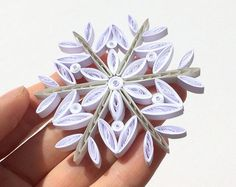 Snowflake White Gray Frosty Christmas Tree Decoration Winter Ornaments Gifts Toppers Fillers Office Corporate Paper Quilling Quilled Art