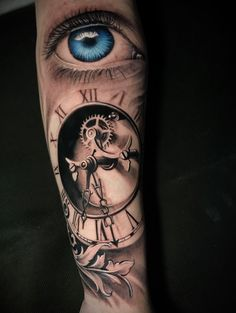 Clock Tattoo Sleeve, Best Sleeve Tattoos, Hourglass Tattoo, Tattoo Designs, Instagram, Amazing Tattoos, Eyes, Tatoo, Graphic Art