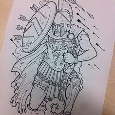 Working on a spartan tattoo for Fahad. #sparta #spartan #greek #warrior #shield #greek #soldier #battle #tattoo #300 #cap #samphillips #samphillipsillustration #art