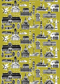 To celebrate being named World Design Capital for Helsinki is celebrating Marimekkon by re-releasing Per Olof Nyström's 1952 print Helsinki – Helsingfors. Textile Design, Fabric Design, Print Design, Pattern Design, Graphic Design, Marimekko Fabric, Winter Illustration, Portfolio Site, Helsinki