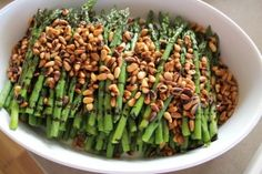 Asparagus with toasted pine nuts and balsamic reduction
