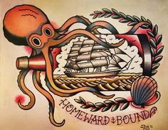 Octopus and Ship in a Bottle Old School Tattoo Flash Sheet