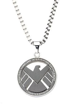 Stainless Steel Marvel S.H.I.E.L.D 1.25 inch Pendant with 24 inch chain.