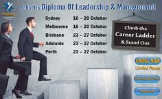 Enrol now for our BSB51915 Diploma of Leadership & Management Course @ just $2450. Special offer for the month of October. Limited places. An intense 5 x day face to face program in a professional setting. #diploma #leadership #management #course