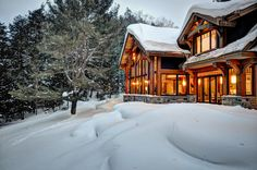 hirsh log homes Log Home Builders, Log Home Living, Cabin In The Woods, Cottage Exterior, Timber House, Ski Chalet, Red Cedar, Whistler, Log Homes
