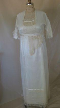 Plus Size Vintage 1914 Edwardian Style  Antique Ecru Lace Wedding Dress - from Lace Sparkle Vintage. $325.00, via Etsy.