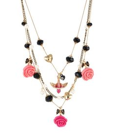 Betsey Johnson rose petal illusion necklace