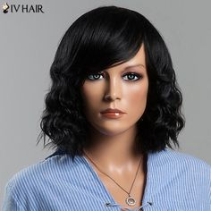 Charming Medium Wavy Side Bang Women's Siv Human Hair Wig #>=#>=#>=#>=#> Click on the pin to check out discount price, color, size, shipping, etc. Save and like it!